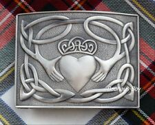 KILT BELT BUCKLE IRISH CLADDAGH DESIGN IN ANTIQUE FINISH by Glen-Esk FOR KILTS