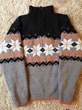 Mens Insulated Nordic Lined Winter Jumper Snowflake Design Funnel Neck Zip Up