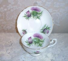 Shelley Bone China Purple Thistle Tea Cup and Saucer Set