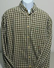 Tommy Hilfiger Green & Tan Plaid Long Sleeve Button Front Shirt Mens XL