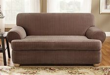 Sofa Chocolate Brown Sure fit t-cushion surefit Stretch Pinstripe Slipcover