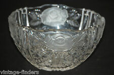 Vintage Anna Huttle Glass Crystal Candy Dish Bowl Frosted Rose & Sawtooth Rim
