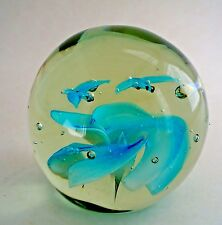 Lovely Vintage Murano Art Glass Paperweight Two Birds over Clouds