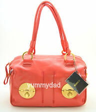 MIMCO TURNLOCK ZIP TOP LEATHER BAG IN BRIGHT CORAL BNWT RRP$499