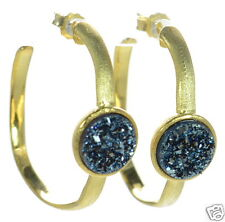 Solid 925 Sterling Silver Satin Finish Gold Plated Blue Druzy Hoop Earrings '