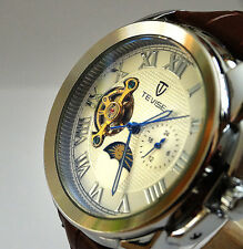 Classic 44mm Tourbillon Automatic Complication GMT Polished Steel Dress Watch