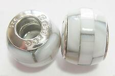 *New* one 925 Sterling Silver and GREY shell mosaic charm bead. By Source