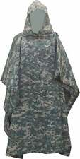 Military Style Nylon Poncho ACU Camouflage Made in USA Brand New Rip-Stop Nylon