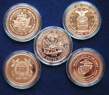 US Armee  Copper Round 5 x 1 Oz Kupfer Medaille  Army Marines Navy Air Force