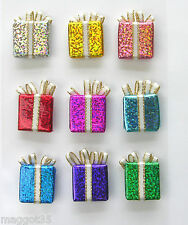 3D Sparkly Present Stickers , self adhesive, Christmas.