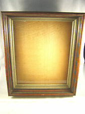 Antique c1880s Two Tier Deep Walnut Picture Frame with Gold Pattern Inner Frame