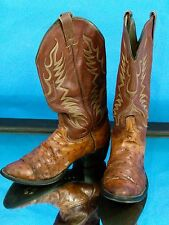 Don Cuco Ostrich Leather 2 Worn Distressed Men 28.5-9.5 Western Cowboy Boots VTG