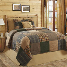 HENLEY Queen 3p Quilt Set Rustic Primitive Plaid Brown/Blue Country Block Cotton