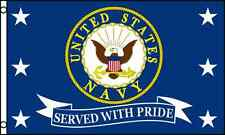 US Navy Served With Pride Flag 3x5 ft USN Vet Veteran Retired United States Navy