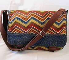 FOSSIL KEY-PER COATED CANVAS & LEATHER CROSS BODY SHOULDER BAG MESSENGER BAG