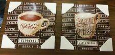 "2 RARE app. 12"" x 12"" KITCHEN WALL DECOR PICTURES, COFFEE CUPS on canvas print"
