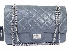 Authentic Chanel 2.55 Gray Vintage Leather Chain Shoulder Bag 2005 Limited T865