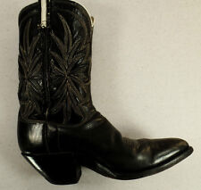 Vintage Cowboy Boots Black with White Design Men's Size 7 Western Heel