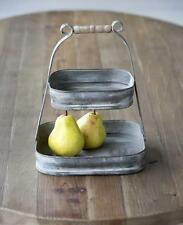 Petite Galvanized Metal 2-Tier Fruit Basket~Tray~Farmhouse~Storage Bin