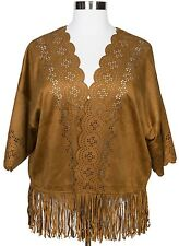 HINT OF MINT BROWN LASER CUT KIMONO SLEEVE FAUX SUEDE FRINGED CARDIGAN Sz 3X