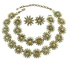 VINTAGE KRAMER WHITE WASHED ENAMEL DAISY AB RS NECKLACE BRACELET EARRINGS PARURE