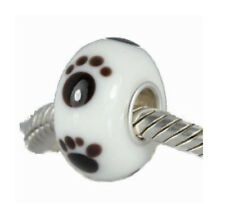 925 Silver White Animal Dog Cat Paw Print Glass Bead For Charm Bracelets