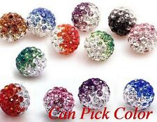 50pcs/lot 10mm Colorful Gradient change crystal shamballa beads bracelet spacer