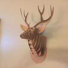 Cardboard Deer Head, Paper Puzzle, All New 3D Design. Brown Corrugated Paper
