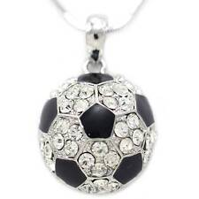 White Black Soccer Foot Ball Sports Pendant Charm Necklace Clear Stone n1023