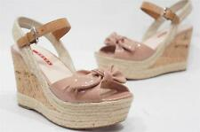 PRADA BOW BEIGE  NUDE CORK WEDGE SANDALS SHOES 38.5/8.5 $520