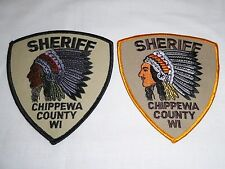 LOT 2 SHERIFF INDIAN CHIEF EMBROIDERED POLICE PATCH CHIPPEWA COUNTY WIS NEW!