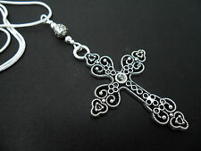 "A LOVELY TIBETAN SILVER  LARGE CROSS/CRUCIFIX NECKLACE ON 18"" SNAKE CHAIN. NEW."