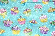 Glitter Cupcake Cotton Flannel Fabric  Polka Dot Aqua Fabric Traditions  Bfab