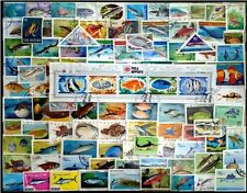 FISHES On Stamps - 100 Different Large world Wide Mixed Thematic Used Stamps