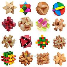 Chinese Kongming Luban Intelligence 3D Wooden Lock Puzzle Toy For Child adult A