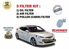 FOR HYUNDAI VELOSTER 1.6 TURBO + GDI 2011--> NEW OIL AIR POLLEN (3) FILTER KIT