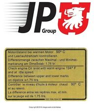 NEW Porsche 911 1981-1989 Engine Oil Level Specification Decal JP GROUP DANSK