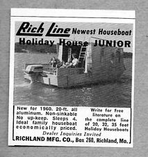 1960 Print Ad Rich Line Holiday House Junior House Boats Richland,MO