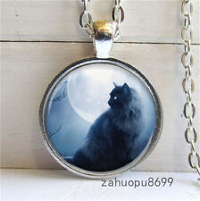 Vintage cat and moon Cabochon Silver plated Glass Chain Pendant Necklace @03
