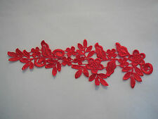 A Red bridal floral lace Applique/ wedding lace motif for sale.Sold by piece