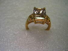 Vintage Gold Tone Faux Pink Topaz Princess Cut Ring, size 10