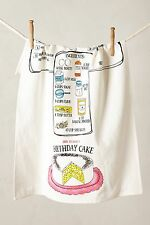 NWT Anthropologie Recipe Dishtowel Cotton Birthday Cake Eggs Flour Measuring Cup