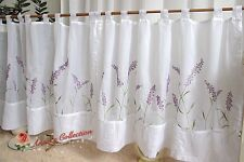 "Beautiful Embroidered Sheer Cafe/Tier Curtain~White~44""*22""~Lavender's Waiting~"