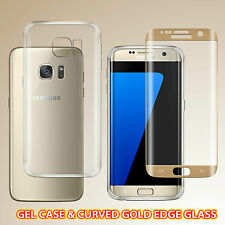 TPU Gel Case & Curved Tempered Glass Screen Protector For Samsung S7 Edge - GOLD