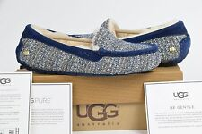 100% Authentic Womens UGG Australia Ansley Fancy 9 Shoes Slippers Moccasins Blue