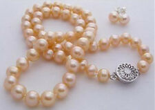 Natural 7-8mm pink akoya cultured pearl necklace earring 18""