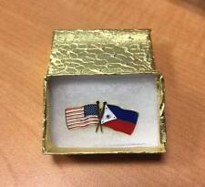 "American and Philippine Lapel Flag Pin in Gold Gift Box ""NIB"""