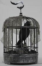 Halloween Spooky Village Light Up Animated Talking Raven in Cage with Skull NWT