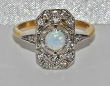 Art Deco 9ct Yellow Gold on Silver Opal Cabochon Cluster Ring - size O