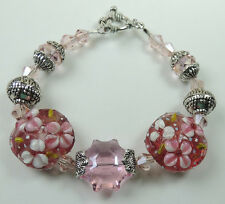 crafted Pink & White Flower Lampwork Bracelet with Pink Crystal & Bali Beads